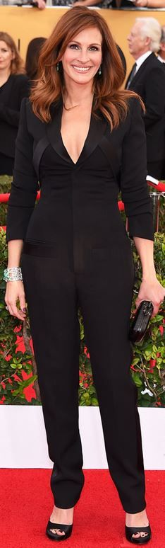 Julia Roberts' black jumpsuit and jewelry that she wore to the 2015 Screen Actors Guild Awards style id
