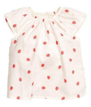 Bomullsbluse   Naturhvit/Jordbær   Barn   H&M NO