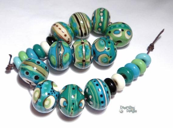 TEMPEST Lampwork Beads Handmade Ivory by desertbugdesigns on Etsy, $58.00