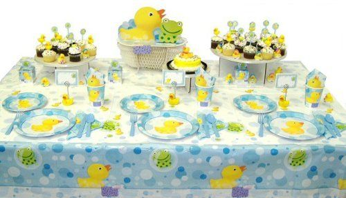 This is the decorations/tablewear that I love!!    Duck and Froggy Baby Shower Ensemble