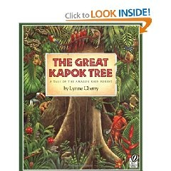 Different animals of the rainforest talk to a forester as he sleeps explaining how The Great Kapok Tree helps them live.