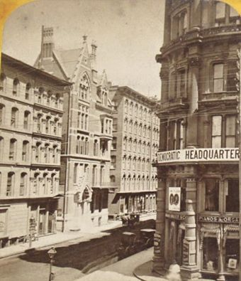 Looking east on Monroe from State past the Palmer House, Democratic Headquarters during the Democratic National Convention, 1884, Chicago