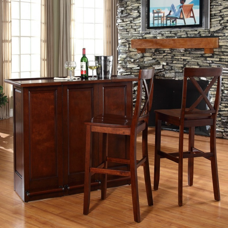 crosley mobile folding bar in vintage mahogany with school house stool in mahagony bars u0026 bar sets kitchen and dining furniture