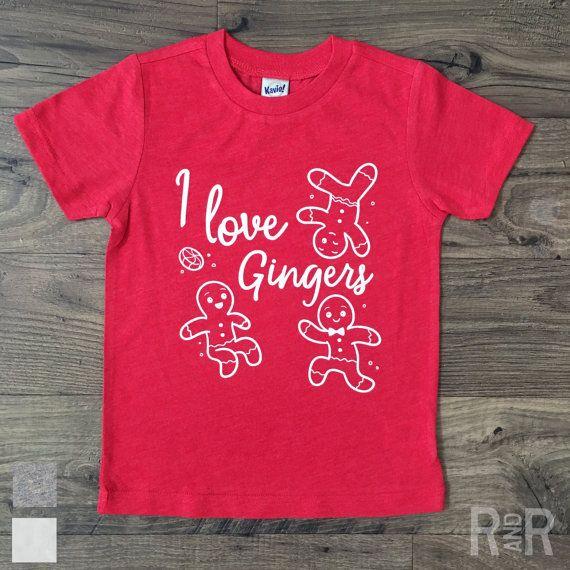 I LOVE GINGERS / Kids Funny T-Shirt / Funny Christmas Shirt / Holiday Tee / Stocking Stuffer Ideas / Kids Santa Shirt / Mall Santa / Elf