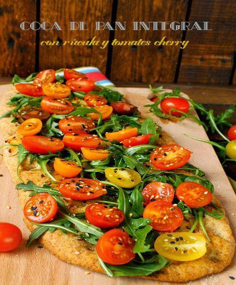 El jardín de mis recetas: COCA DE PAN INTEGRAL CON RÚCULA Y TOMATES CHERRY (XAVIER BARRIGA)