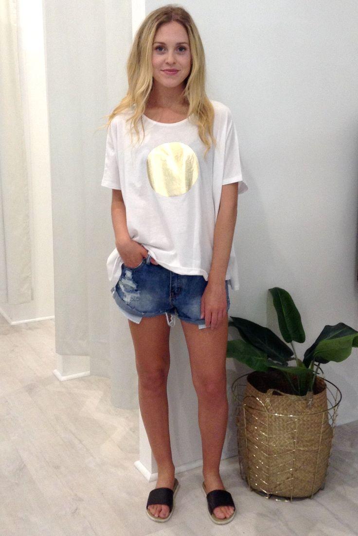 Eb & Ive - Paama Tshirt- White/Gold