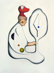 Mark Braunias, Red Head, 2012, 7-colour stone Lithograph, 380 x 280mm.    Edition: 10