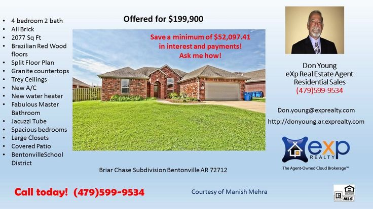 4 BR 2 BA home in Briar Chase Subdivision Bentonville School District with granite counter  https://gp1pro.com/USA/AR/Benton/Bentonville/Briar_Chase_Subdivision/3103_SW_Camden_Dr_.html  Call or text Don to schedule your private showing!  All brick home, oversized backyard! Features include 4 bedrooms 2 baths, office/dining, fireplace, granite counter tops, Brazilian Red Wood floors in Living and Dining areas, and a covered patio! Appliances included: Dishwasher, Dryer, Freezer, Garbage…