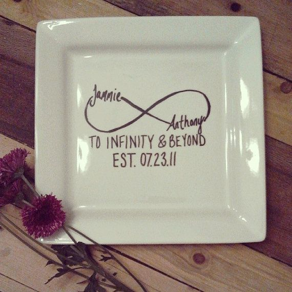 personalized wedding date porcelain dinner plate to by alderlane