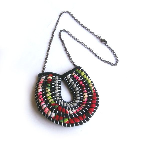 Modern Art Red Pendant Necklace Tropical Red by FabricTwist