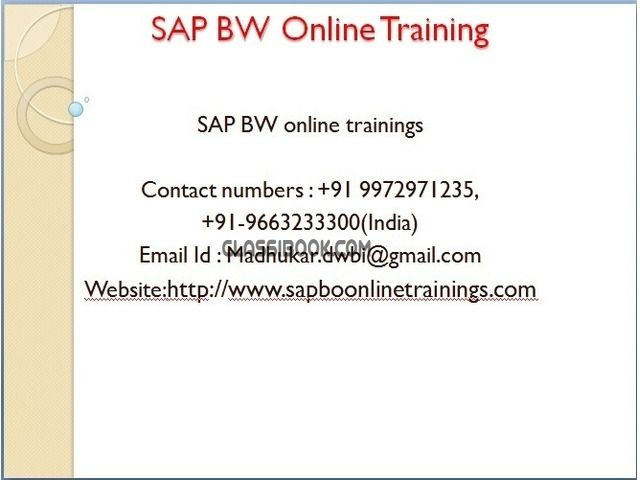 listing ALL OVER INDIA Online training for SAP B... is published on FREE CLASSIFIEDS INDIA - http://classibook.com/computer-multimedia-classes-in-bangalore-49493
