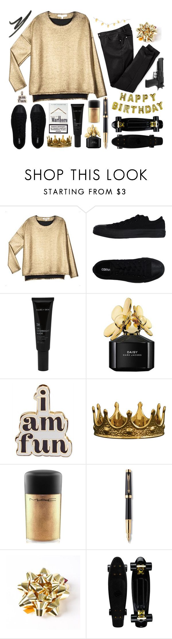 """""""IT'S MY BIRTHDAY!"""" by matryrdomandsuicide ❤ liked on Polyvore featuring VALENTINE GAUTHIER, Converse, Allies of Skin, Marc Jacobs, ban.do, Seletti, MAC Cosmetics, Parker, Talking Tables and NARS Cosmetics"""