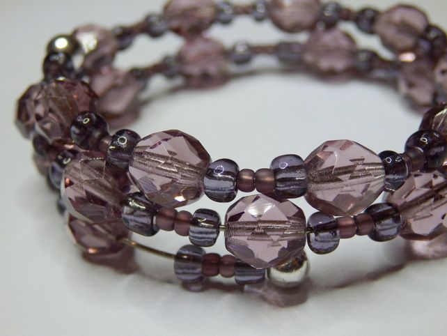Memory Wire Bracelet - Crystal Smokey Topaz and Purple Glass Beads.