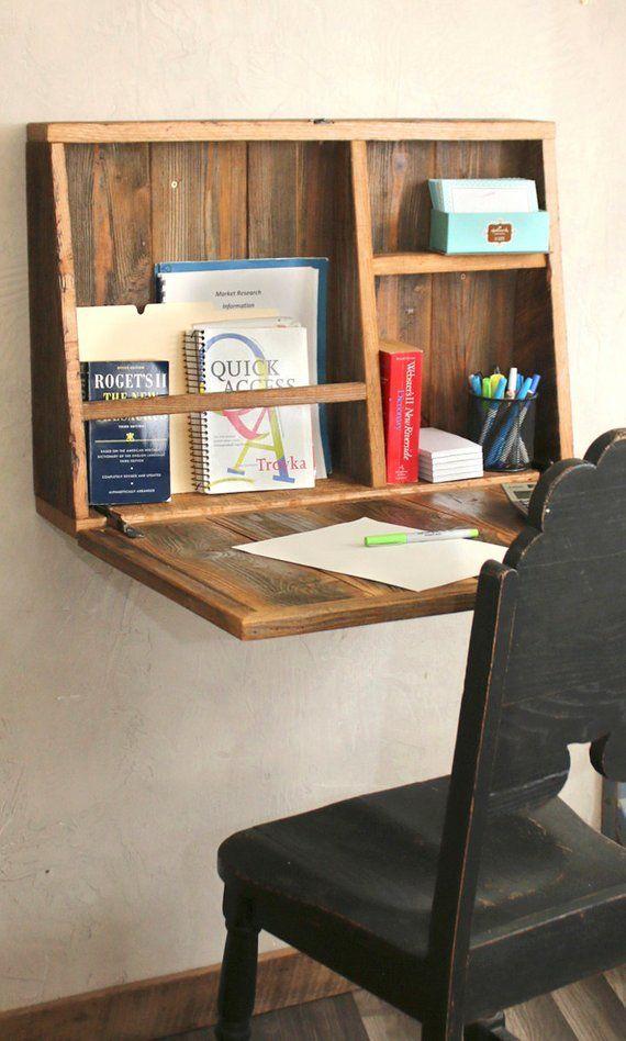 Drop Down Secretary Desk – Wand montiert – Schreibtisch für kleine Räume – Sekretär Schreibtisch