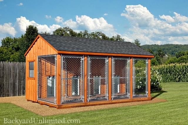 10'x16 Dog Kennel with 4-4'x6' Runs and 4-4'x4' Boxes, Insulated, Glassboard Interior, Deluxe Dog Doors, and Board and Batten Siding http://www.backyardunlimited.com/dog-kennels.php