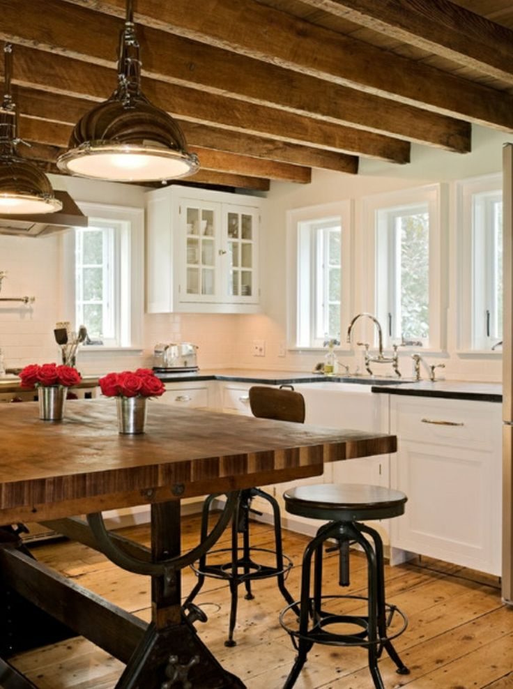 Love The Warm Feeling Of Ceiling And Farm Style Table