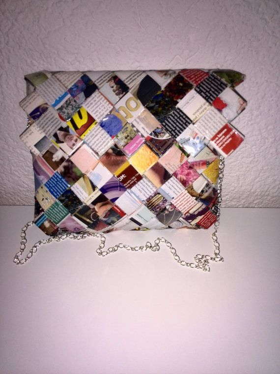 Completely hand made out of magazine paper lacquered by eenahbags, $49.00