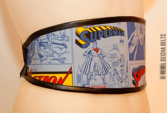 Waist-Cincher Style Belts for bold women who love to stand out in a crowd! Designed and Made in Toronto PERSONAL SERVICE/CUSTOM ORDERS ONLY  COLLECTION: COMICORS superman in blue $60