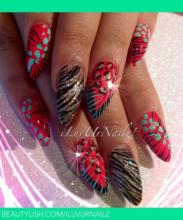 Animal Print Almond Shaped Nails | iLuvUrNailz J.'s (iLuvUrNailz) Photo | Beautylish