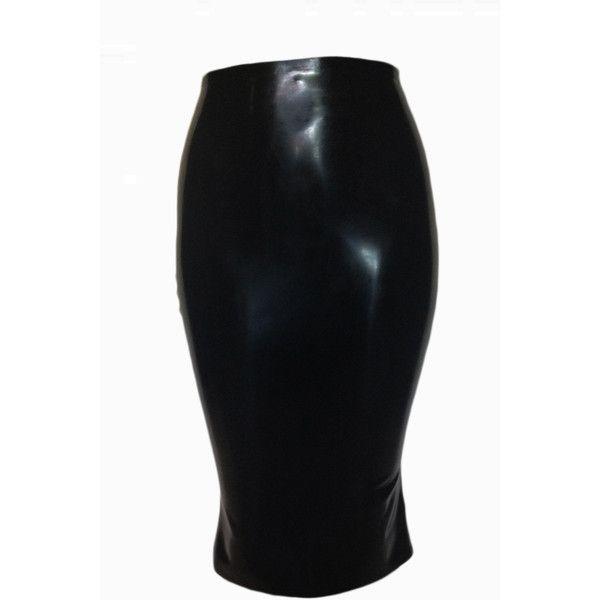 Knee Length Skirt (€230) ❤ liked on Polyvore featuring skirts, bottoms, latex, knee high skirts, latex skirt, back zipper skirt, short skirts and knee length skirts