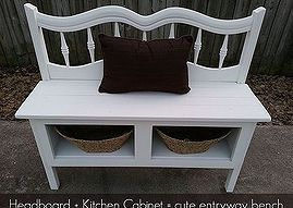 Great entryway bench made from a twin headboard and a kitchen cabinet