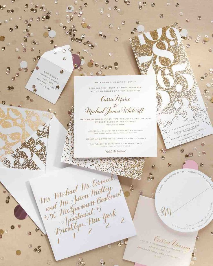 A Metallic New Year's Eve Wedding in Philly | Martha Stewart Weddings - The stationery suite, designed by Carrie's close friend (and our own design director) Michael McCormick, glittered with metallic inks and foil; a tiny envelope of confetti was tucked inside. It was printed by Spark Letterpressed and finished with gold calligraphy by Manayunk Calligraphy.