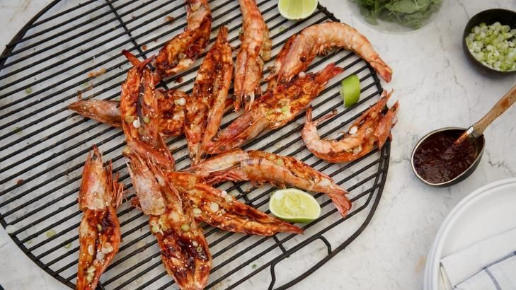 Summer's here: Korean-style king prawns are delicious on any style of barbecue.