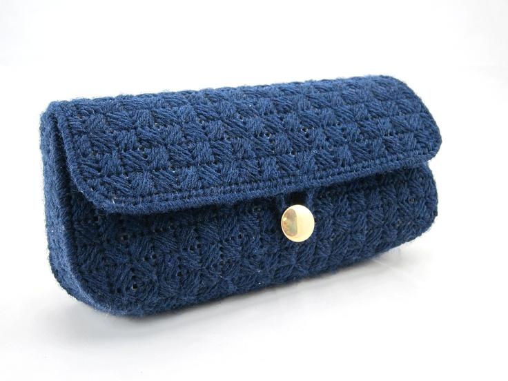 bargello needlepoint clutch - navy blue