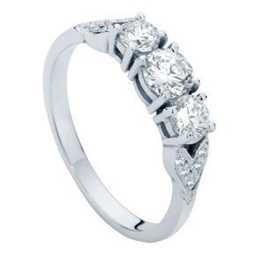 The 'Trio' engagement ring with lovely diamonds set into the shoulders in a leaf pattern.