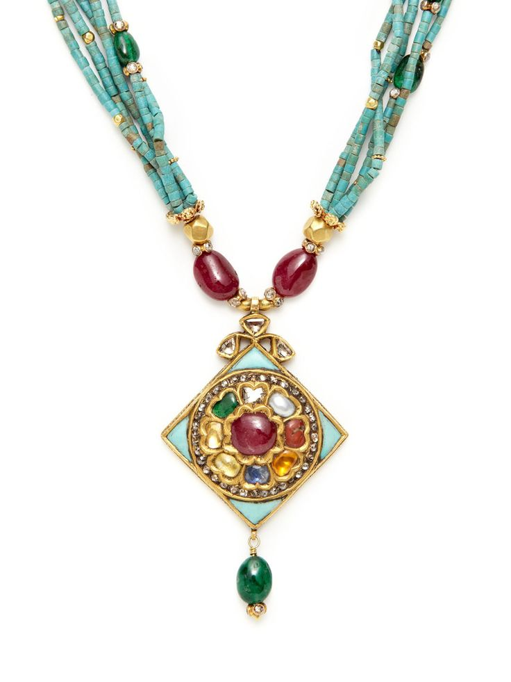 Turquoise, Emerald, & Ruby Kite Shaped Pendant Necklace by Amrapali at Gilt