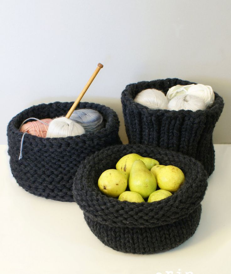 "Knitting Patterns for Three Chunky Baskets - #ad three styles of basket; stockinette, garter, and ribbed. Each basket is approximately 10""-11"" in diameter and 6""-8"" tall. tba storage craft tool"
