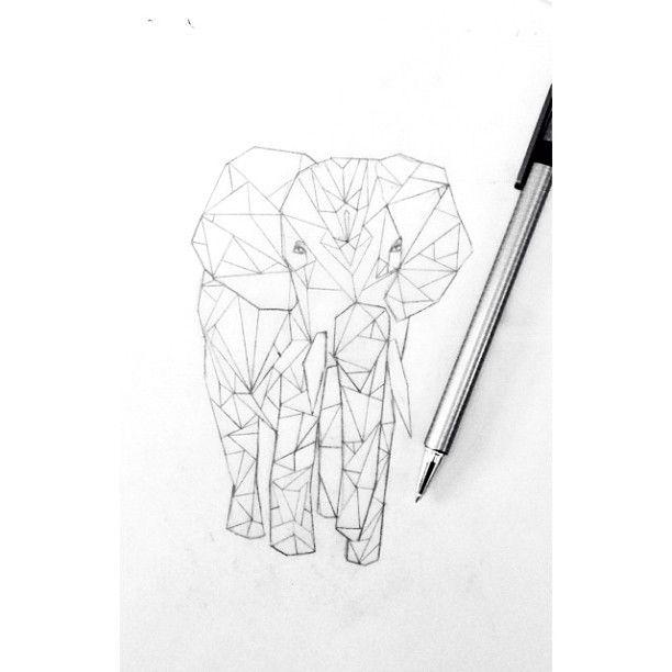 Geometric Elephant Drawing