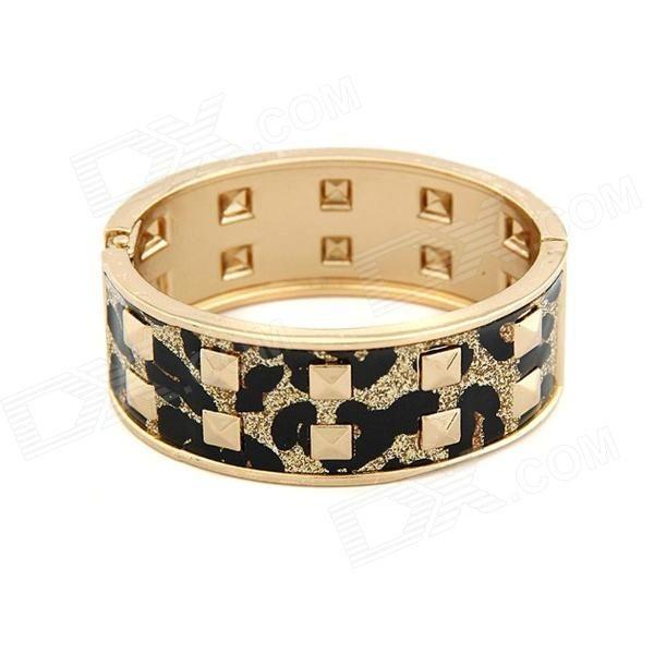 Color: Black + Gold; Quantity: 1 Piece; Material: Zinc Alloy; Gender: Women; Suitable for: Adults; Bracelet Length: 6.6 cm; Bracelet Width: 5.8 cm; Packing List: 1 x Bracelet; http://j.mp/1uOdIHe