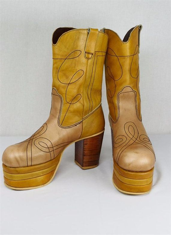 "Rare Custom Vintage 1970s Men's Rockstar 4""  Two Toned Color Blocked Stacked Platform Boots Glam Rock David Bowie Cowboy Western Size 10 1/2"