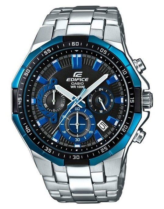 Casio Edifice Herenhorloge chronograaf EFR-554D-1A2VUEF. Een prachtig horloge met een robuust uiterlijk. De wijzerplaat is blauw en voorzien van een oplichtende index waardoor je in het donker ook kan zien hoe laat het is. Het horloge dient kort daarvoor wel aan licht te zijn blootgesteld. De kroon is door de speciale vormgeving van de kast tegen stoten beschermd. Dit model is tot 10 meter waterdicht. De band sluit middels een vouwsluiting met drukknopen.