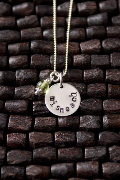 Misneach Irish Gaelic Necklace, Courage Necklace, Irish Sayings Necklace, Irish Gaelic Translation Courage, Irish Charm Necklace. $30.00, via Etsy.