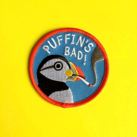 Funny Iron On Patch Puffin Patch Smoking Patch by helloDODOshop