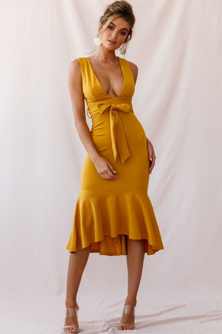 8aa4d681d5b Sorry Not Sorry Wide Strap Flounce Dress Mustard in 2019 | Things I ...