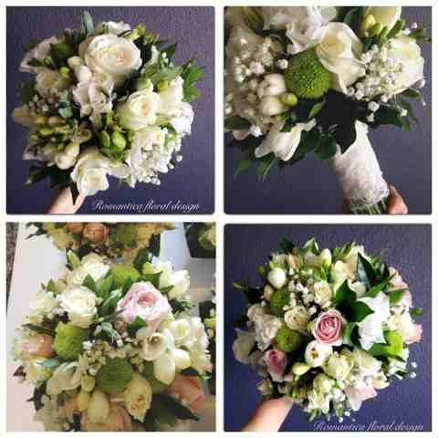 Romantica Floral Design: Autumn wedding flowers ~ Vintage inspired wedding ~ Bridal bouquets using white, green and palest pink toned blooms and garden textures, bound in vintage lace