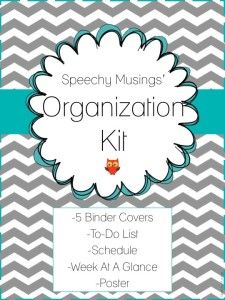 Speechy Musings: A fun and bright organizational FREEBIE containing binder covers, a to-do list, schedule, poster, and a great week at a glance form!