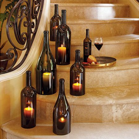 Old Wine bottles turned into candle holders