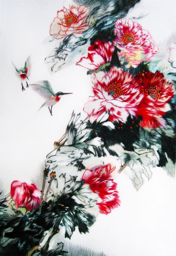 165 best king silk art grand master artists images on pinterest king silk art handmade embroidery framed humming birds and red peonies chinese print wildlife flower floral painting gift oriental asian wall art dcor amipublicfo Images