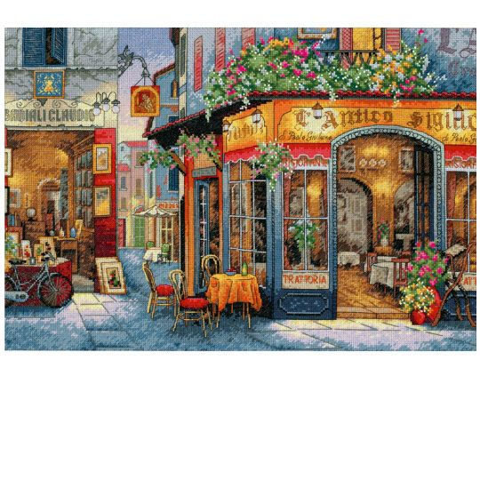 <div>Let this counted cross stitch scene take you wondering through the streets of Europe. As yo...