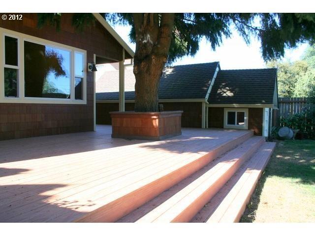 wide wooden deck/steps