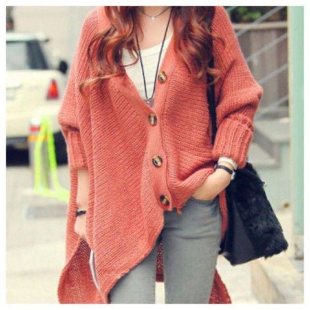 Cardigan: coral, laranja, malha casaco de lã, casaco, camisola, queda roupas, moda, kawaii, equipamento, camisola do inverno,…