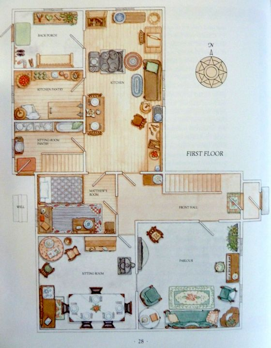 "Green Gables map/floor plan from ""The Anne of Green Gables Treasury."""