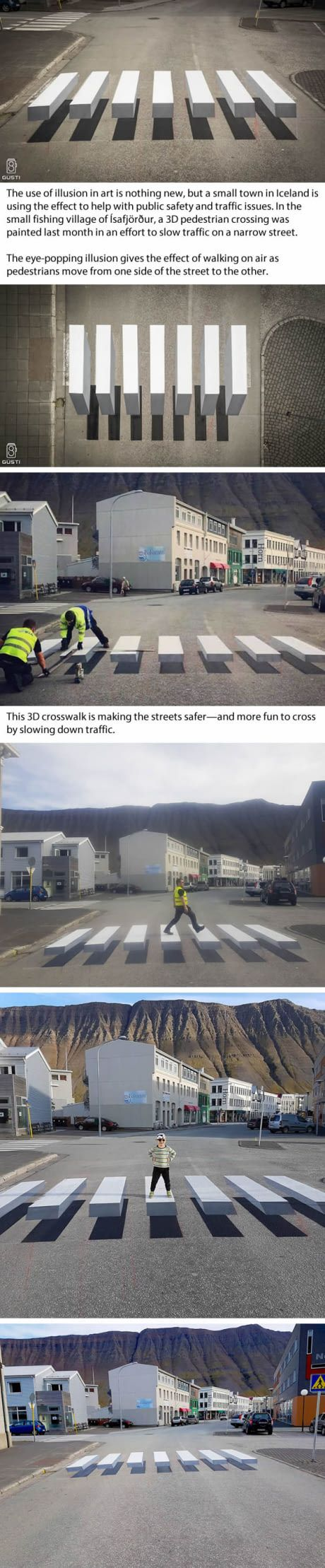 Iceland Has 3D Zebra Stripe Crosswalk with Stunning Optical Illusion