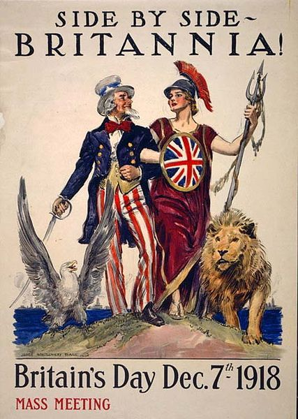 Britannia arm-in-arm with Uncle Sam symbolizes the British-American alliance in World War I.
