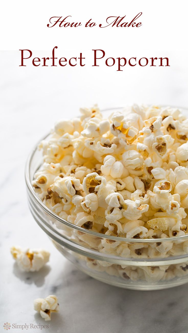 How to make PERFECT popcorn on the stovetop. No burnt kernels! Easy stove-top popcorn recipe on SimplyRecipes.com