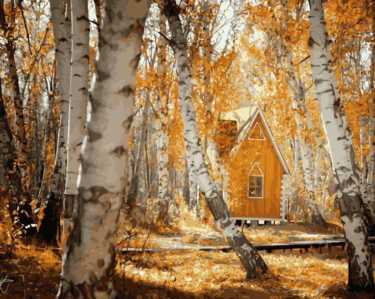 Mahuaf-i249 Сделай сам картина по номерам лесной домик пейзаж раскраски картина маслом на холсте рисунок главная картины стены искусства фотографий